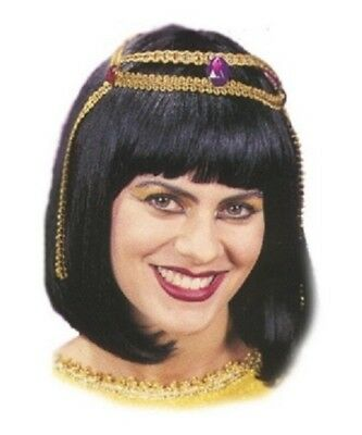 Ladies Black Bob Style Egyptian Cleopatra Queen Of The Nile Fancy Dress Wig