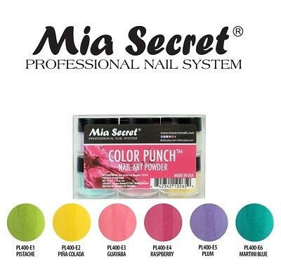 Mia Secret Color Punch Nail Acrylic Powder Collection Set Of 6 Art Professional