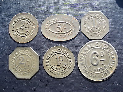 Royal Arsenal Co-operative Society Ltd 1d 2d 6d 1/-  2/- & 5/- Tokens.