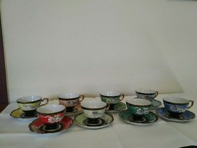 Set of 8 Japanese Dragon Hand-Embossed and Painted Shafford Tea Cups and Saucers