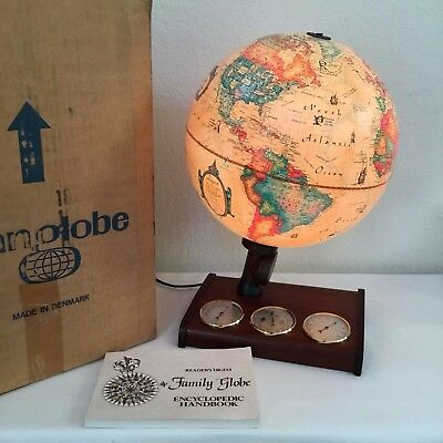 Vintage 1980 Scan Globe Denmark World Discoverer Illuminated ~ Weather Station