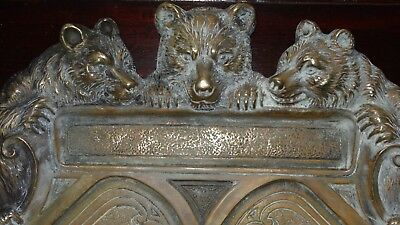 Antique Bronze Art Nouveau Solid Gilded Bear Desk Tray Stunning