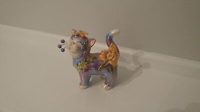 whimsiclay cat figurine, Amy Lacombe, iridescent