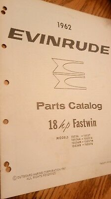 1962 EVINRUDE 15036 15037 A B M FASTWIN 18HP PARTS CATALOG Manual