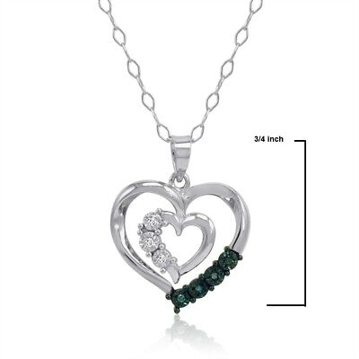 Love Gift of Blue and White Diamond Heart Pendant-Necklace in Sterling Silver