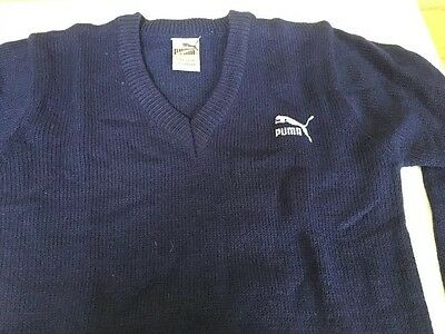 """Vintage 1980s Puma jumper Sweater Sports top Golf Casuals 7/8 Yr Boys 30"""" Chest"""
