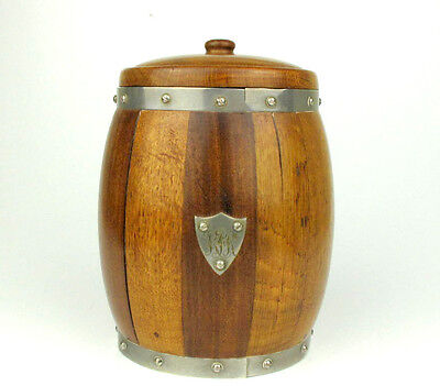 Arts and Crafts Oak and Silverplate monogram Biscuit Barrel