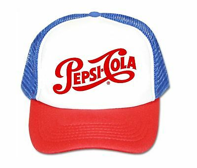 6a7f93034dfc7 Pepsi Cola hat trucker hat mesh hat script red white blue new adjustable