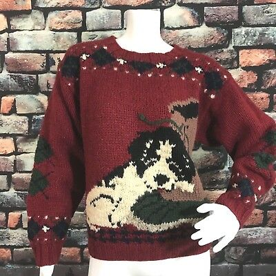 VTG Woolrich Women's 100% Wool Sweater Size S Puppy Dog Boot Maroon Christmas
