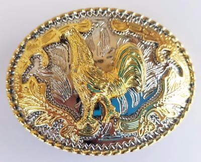 Western Rooster Bird  Farm Western Gold And Silver Rodeo Cowboy Belt Buckle