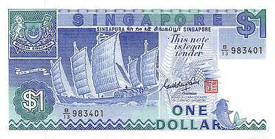 Singapore 1 Dollar, ND 1987 P.18 New Uncirculated Unc