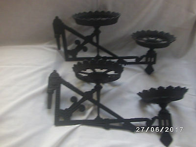 Matched Pair Antique Vintage Cast Iron Double Oil Lamp Wall Brackets Hangers