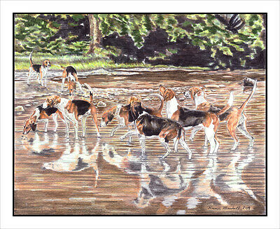 "Fox Hound ""reflections of the Hunt"". Original MATTED 16x20 Art Print."