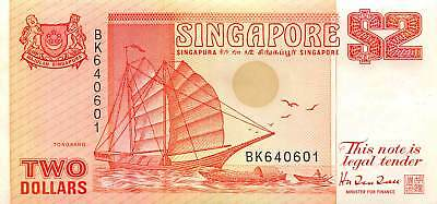 Singapore 2 Dollars, ND 1990 P.27 New Uncirculated Unc
