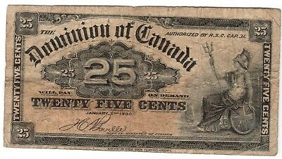 1900 Canada Dominion 25 cents banknote P-9b folded, circulated,corner wear