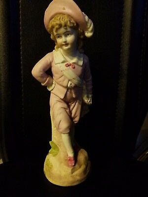 "Vintage Porcelain Ceramic Bisque girl with pink outfit Figurine on Base 11""h"
