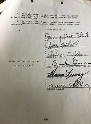 Contract Signed By Members Of Beefheart, Mothers Invention, Love, Fat Kids 1971