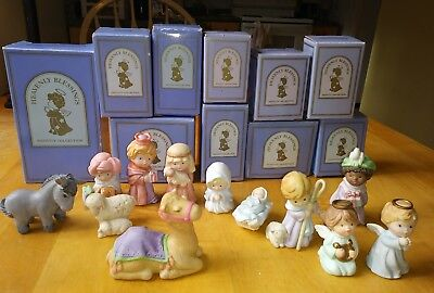 Lot of 12 Vintage 1986 Avon Heavenly Blessings Nativity Collection w/Boxes