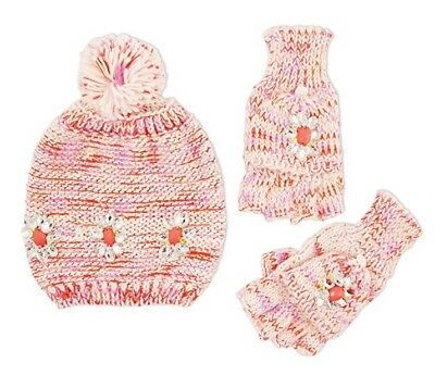 ABG ACCESSORIES Girl's 2 Pc Jeweled Hat & Popover Glove Set PINK MULTI One Size