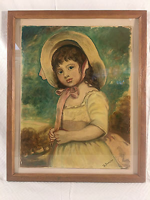 Vintage Portrait Painting Of A Girl Oil On Board Signed Lournier Early 1900's
