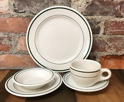 Vintage Restaurant Ware 5 Piece Set Buffalo China Green Stripe Plate Cup Bowl