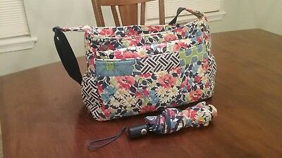 Vera Bradley Diaper Bag In Summer Cottage Patchwork W/ Pad and Umbrella