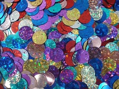 Sequin Flat Discs 14mm Laser Mix 20g Dance Costume Gym Stage FREE POSTAGE