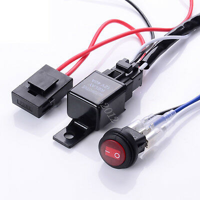 12V 40A Harness LED Spotlight Driving Light Wiring Work Bar ON/OFF Switch Relay