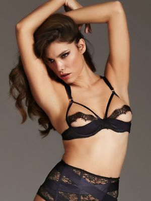 Ann Summers Quarter Cup Estella Bra Navy/black Lace Sizes S/m/l New With Tags