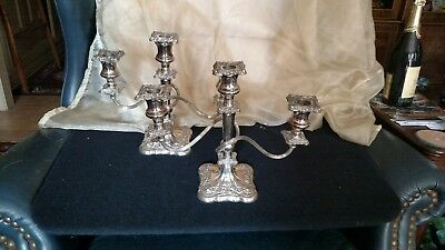 ANTIQUE PAIR OF SILVERPLATE 3 ARM CANDELABRAS - INTERNATIONAL SILVER store stock