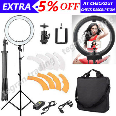"19"" ES240 5500K Dimmable Diva LED Ring Light w/Diffuser Stand Make Up Studio AU"