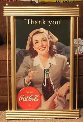 Coca Cola Cardboard Sign With Frame