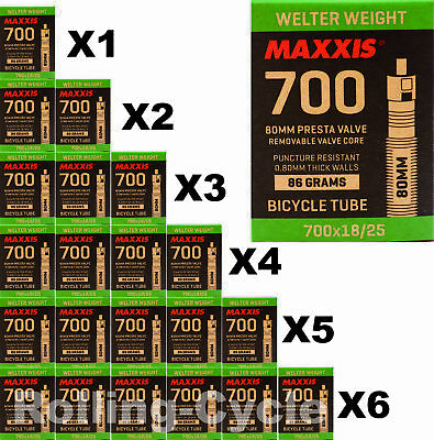 1Pack - 6 Pack Maxxis Welter Weight 700x18-25C 80mm Bike Inner Tube Presta FV