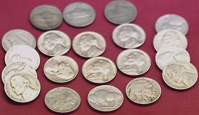 20 Coin Lot ~ Mixed Jefferson Nickels ~ 6 Bu Coins! Silver War! And Buffalo!!