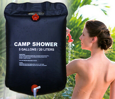 Solar Heated Shower Camping Water Bathing Bag Outdoor Travel Hiking Portable 20L