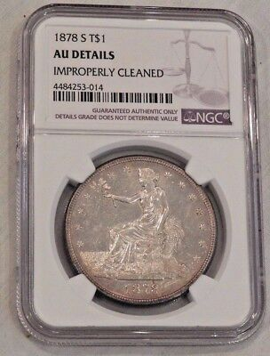 1878-S $1 Trade Silver Dollar Coin T$1 NGC AU Details
