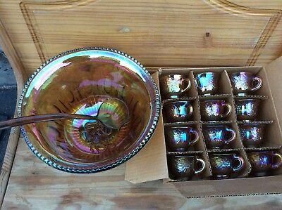 Vintage 26pc Indiana Glass Gold Carnival Iridescent Harvest Grape Punch Bowl Set