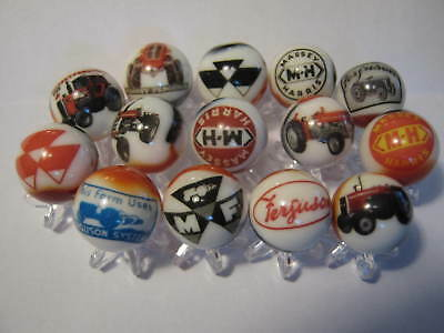 MASSEY FERGUSON TRACTORS COLLECTION LOT marbles 5/8size WITH STANDS