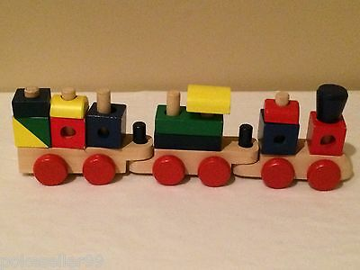 Melissa & Doug Train Wood Stacking Brightly Colored Wooden Blocks