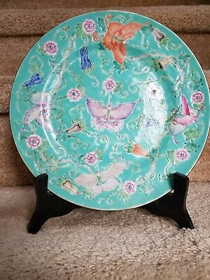 Antique Chinese turquoise butterfly plate with mark, great condition, with stand