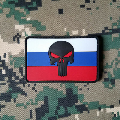 3D Pvc Punisher Skull Russian Flag Country of Russia Flag Hook Patch Rubber Acu