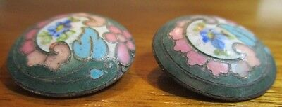 Very Old Antique Champleve Enamel on Metal Buttons~lot of 2~Vintage Victorian