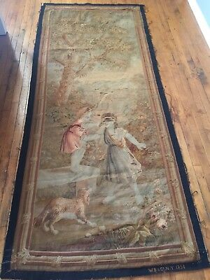 Antique HM Needlepoint Tapestry VICTORIAN Scenic Dog Children SN WB & Co NY 1894