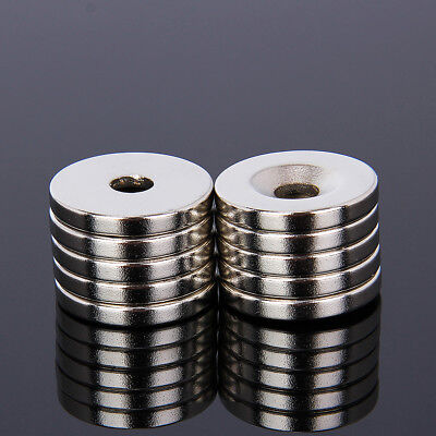 10pcs Neodymium Super Strong Magnet Round Disc N35 Grade 20mm x 3mm Hole 5mm
