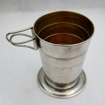 Antique Collapsible Metal Cup w/Handles in Original Leather Case
