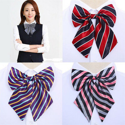 Women Girls Fashion Striped Bow Knot Neck Tie Cravat Casual Tie Party Banquet