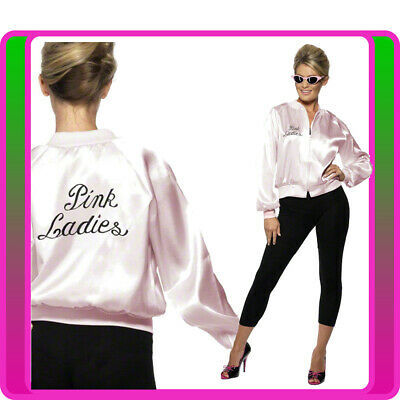 Ladies 50's 1950s Grease Pink Lady Satin Jacket Costume 50s Embroidery Letter