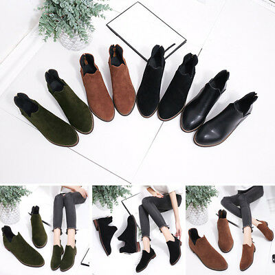 Women Suede Shoes Round Toe Casual Rhinestones Rivet Martin Boots US 5.5-9.5