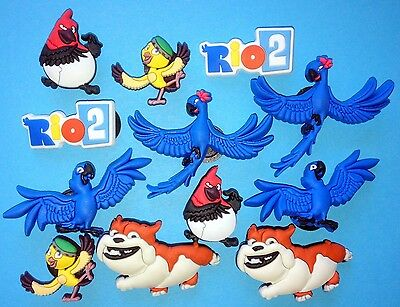 Rio Shoe Decorations 12 Cake Party Favours Cupcake Charms Blue Macaw Movie NEW