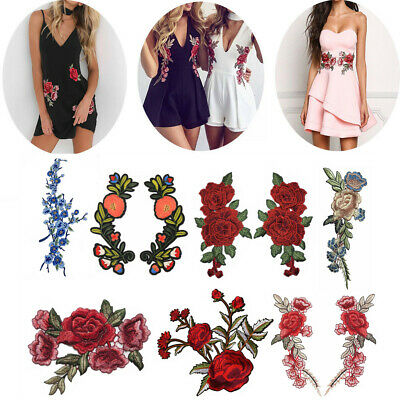 2x DIY Embroidery Sew On Iron On Flower Patch Badge Fabric Bag Clothes Applique